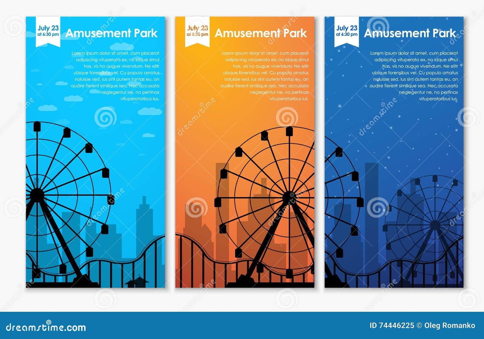 Banderas del parque de atracciones del diseño