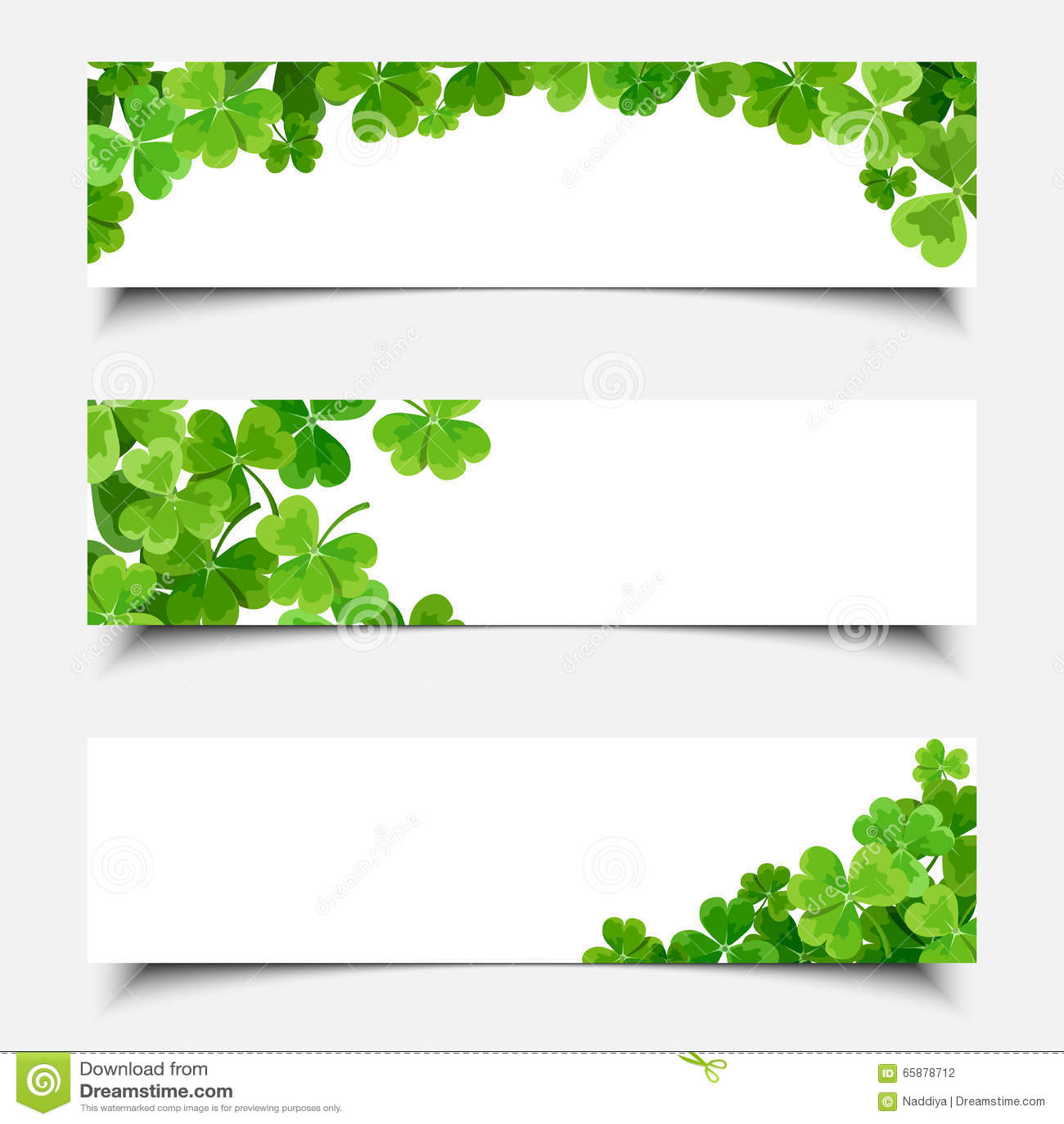 Banderas del web del día de St Patrick con el trébol Vector EPS-10