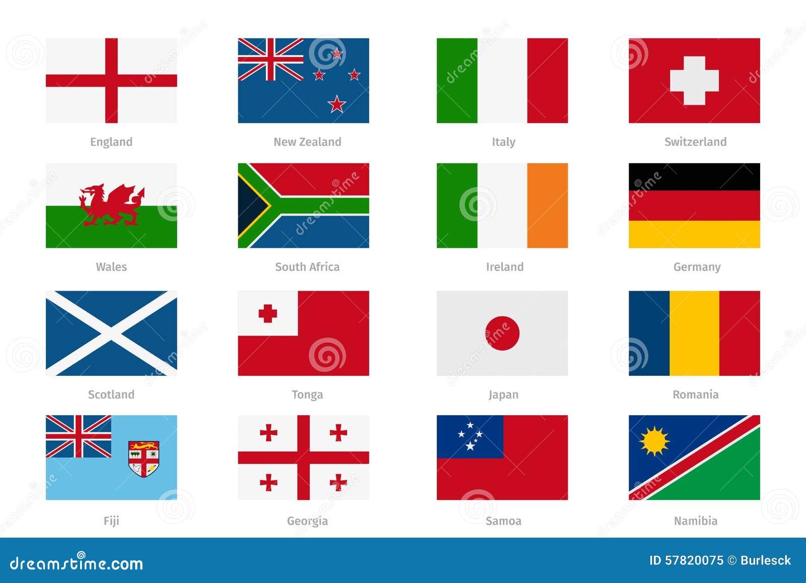 Banderas En Estilo Plano Inglaterra Y País De Gales, Escocia ...