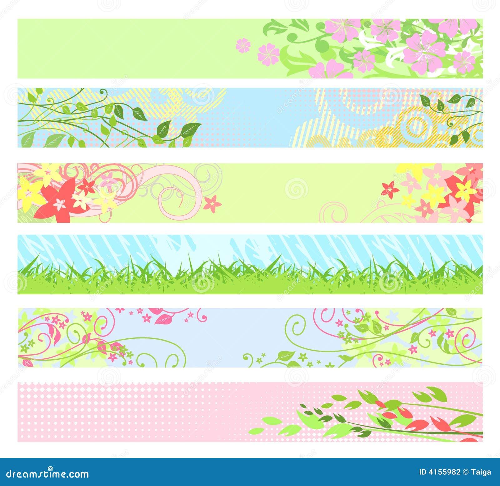 Banderas florales/vector del Web site del resorte