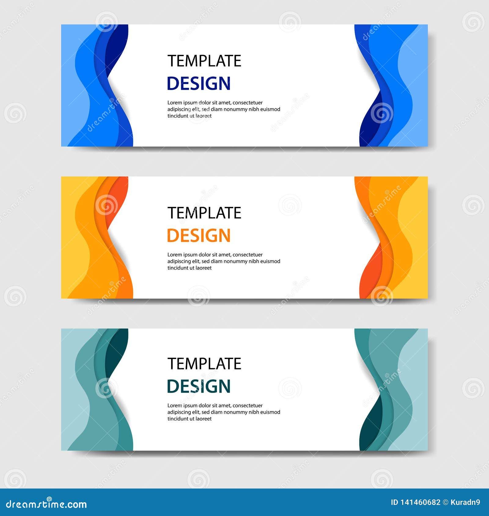 Banderas horizontales con el estilo cortado de papel del extracto 3D Disposición de diseño del vector para la web, bandera, jefe,