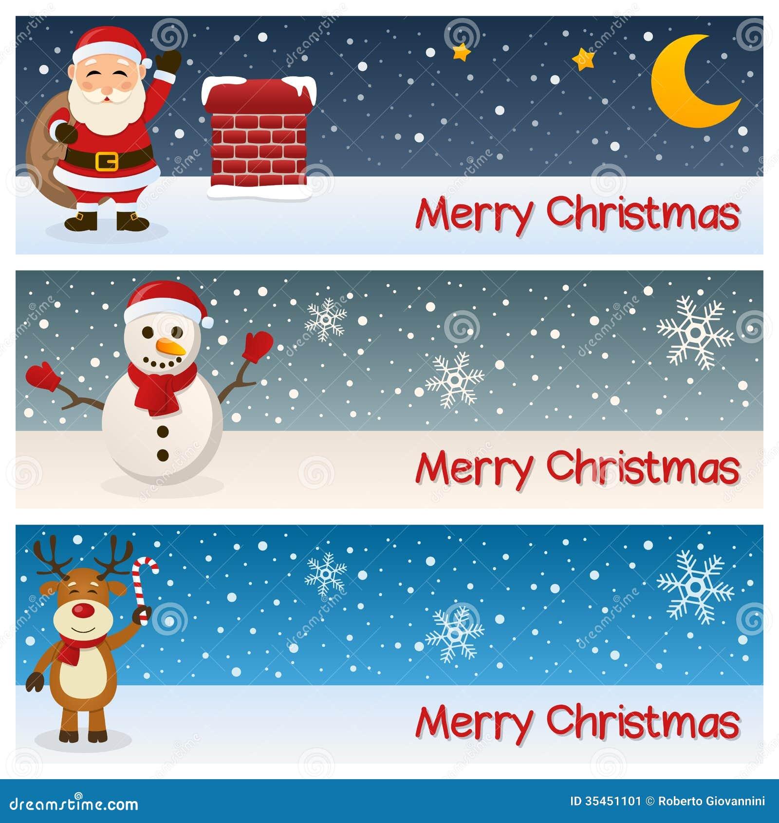 Banderas horizontales de la Feliz Navidad