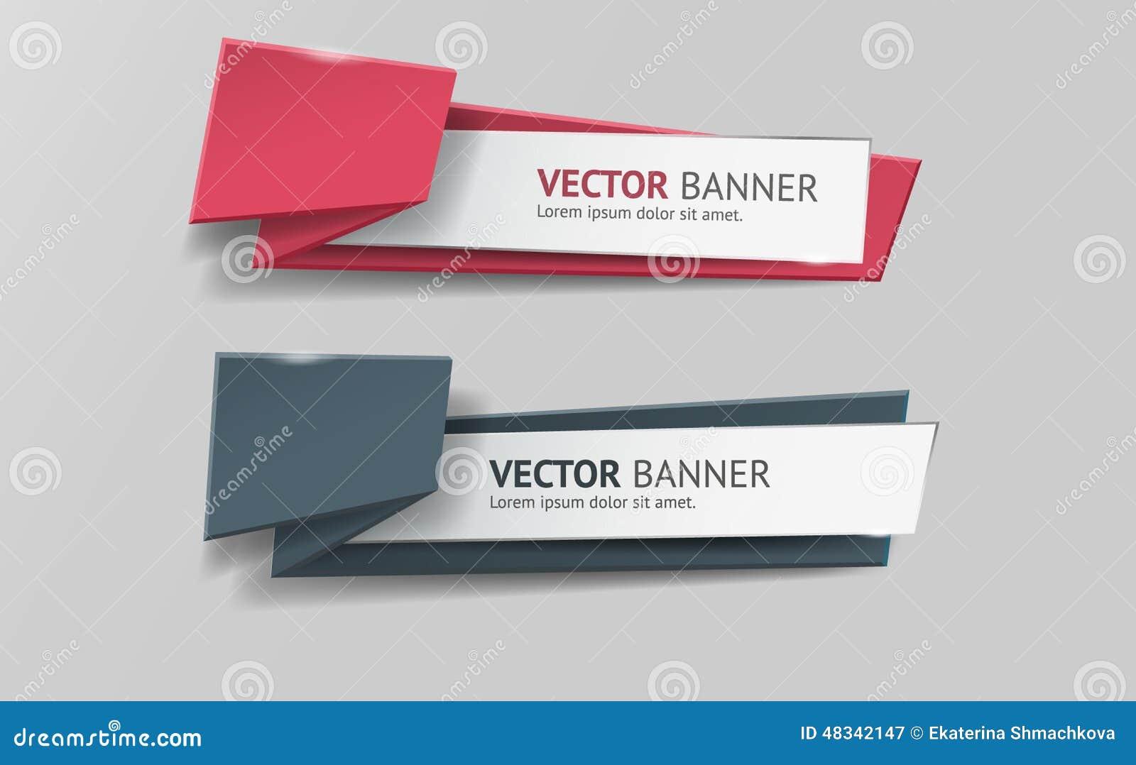 Banderas infographic de la papiroflexia del vector fijadas
