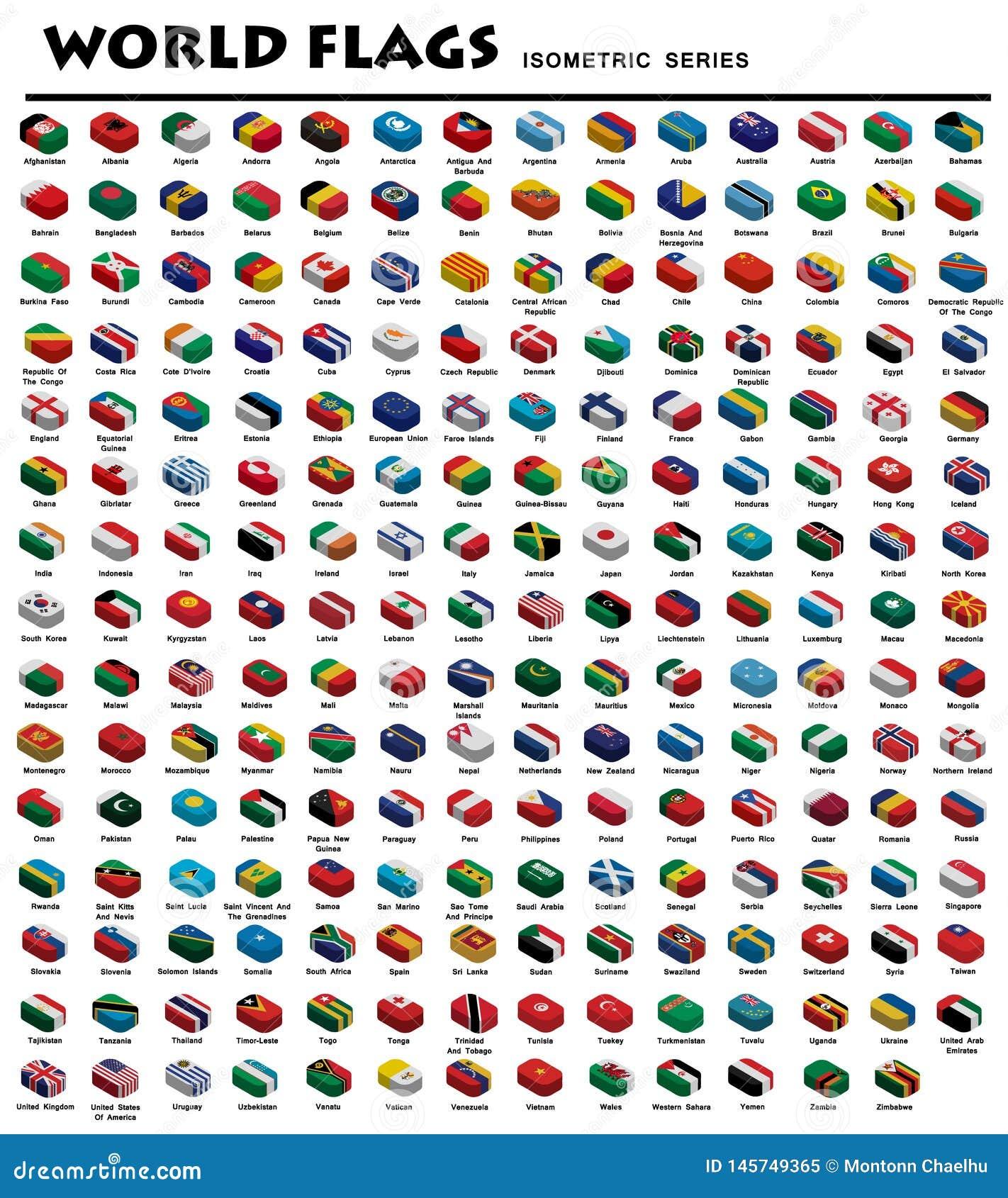 Banderas isométricas del mundo