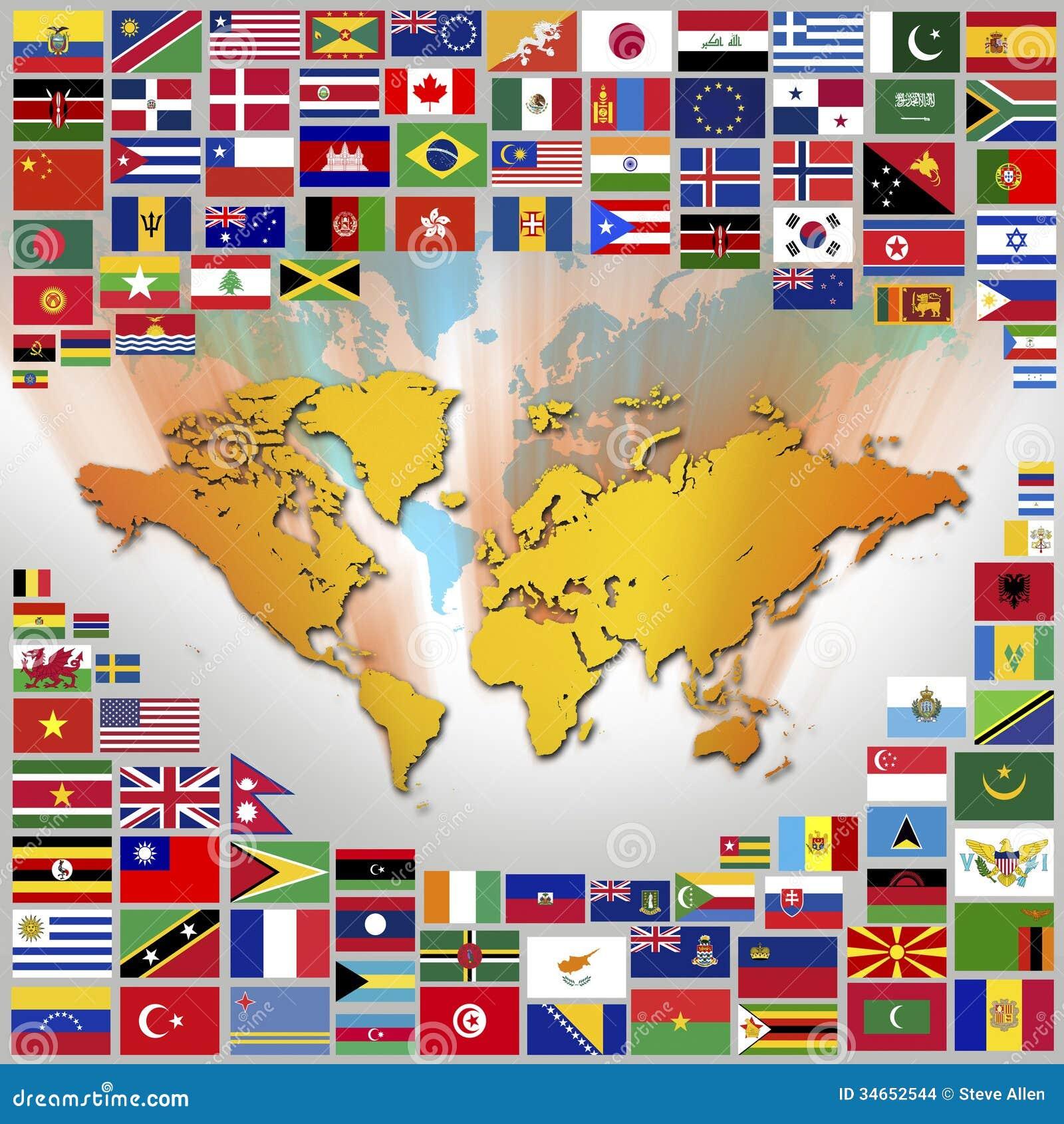 banderas nacionales y mapa del mundo imagenes de archivo On mundo del espectaculo internacional