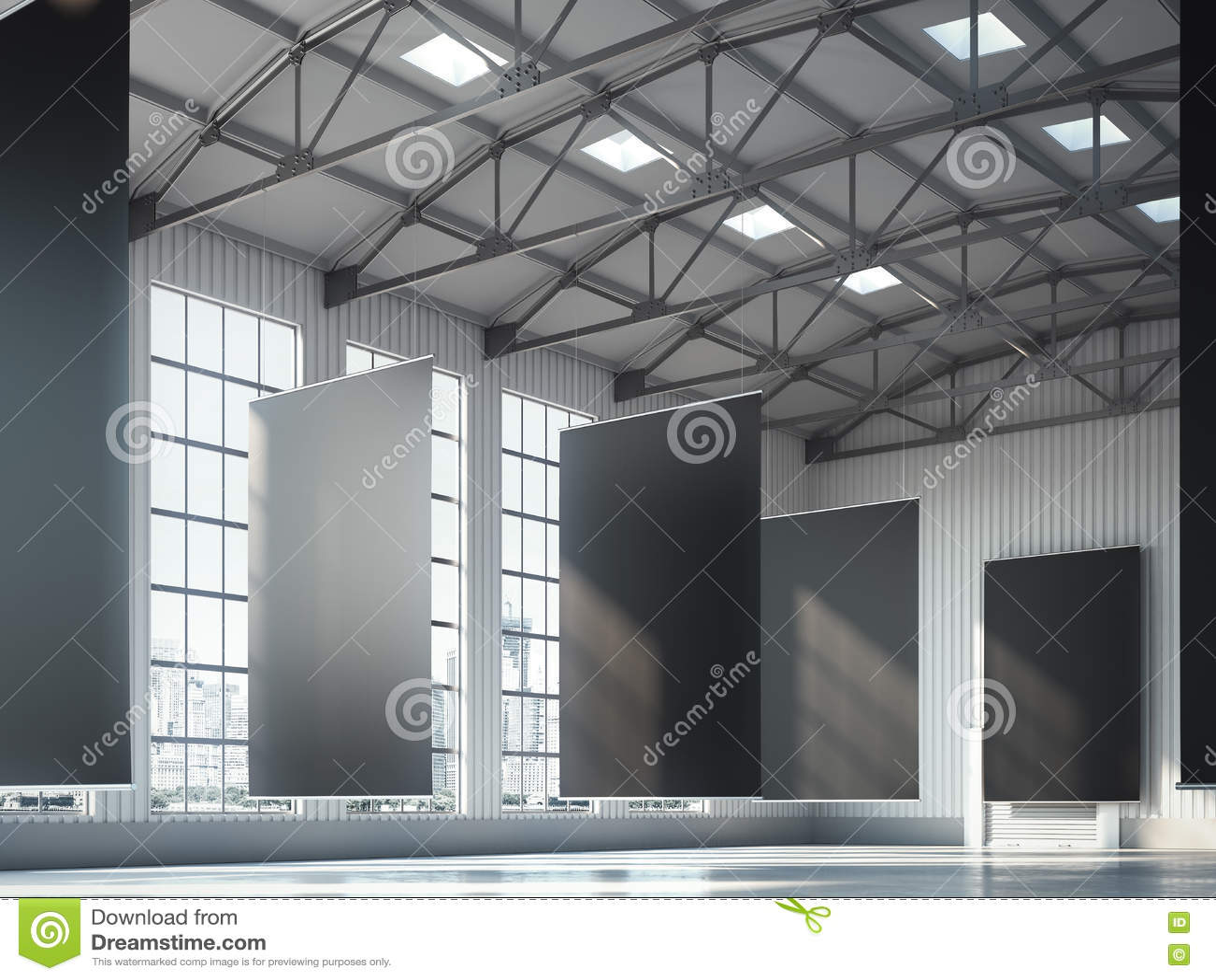 Banderas negras en blanco en área del hangar representación 3d