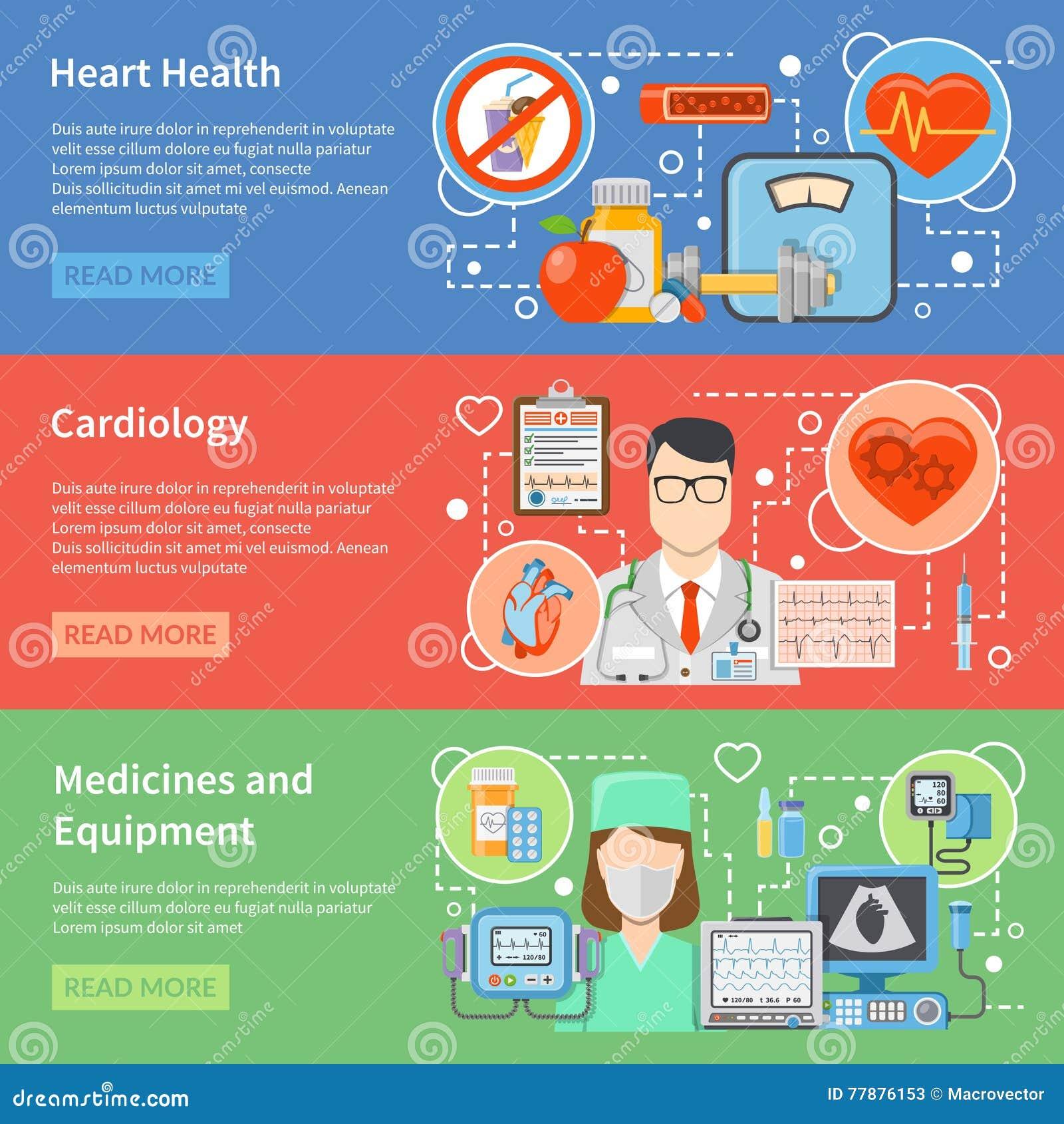 Banderas Planas De La Cardiología Ilustración del Vector