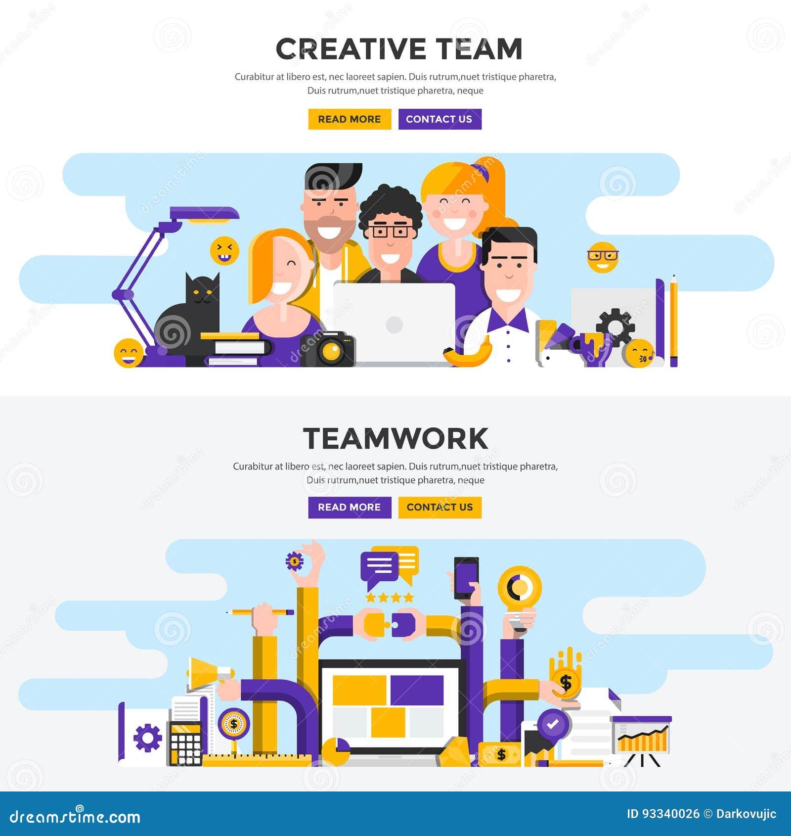 Banderas planas del concepto de diseño - equipo creativo y trabajo en equipo