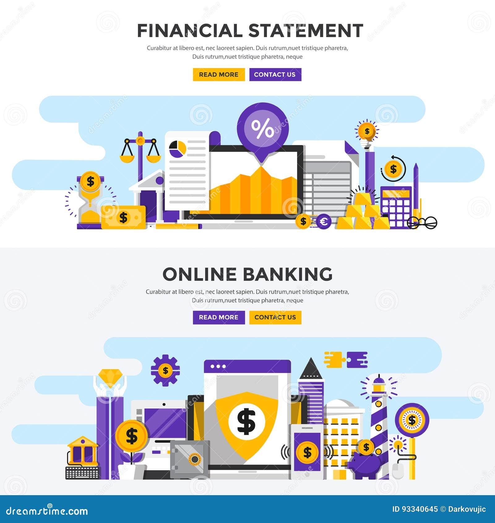 Banderas planas del concepto de diseño - estado financiero y prohibición en línea