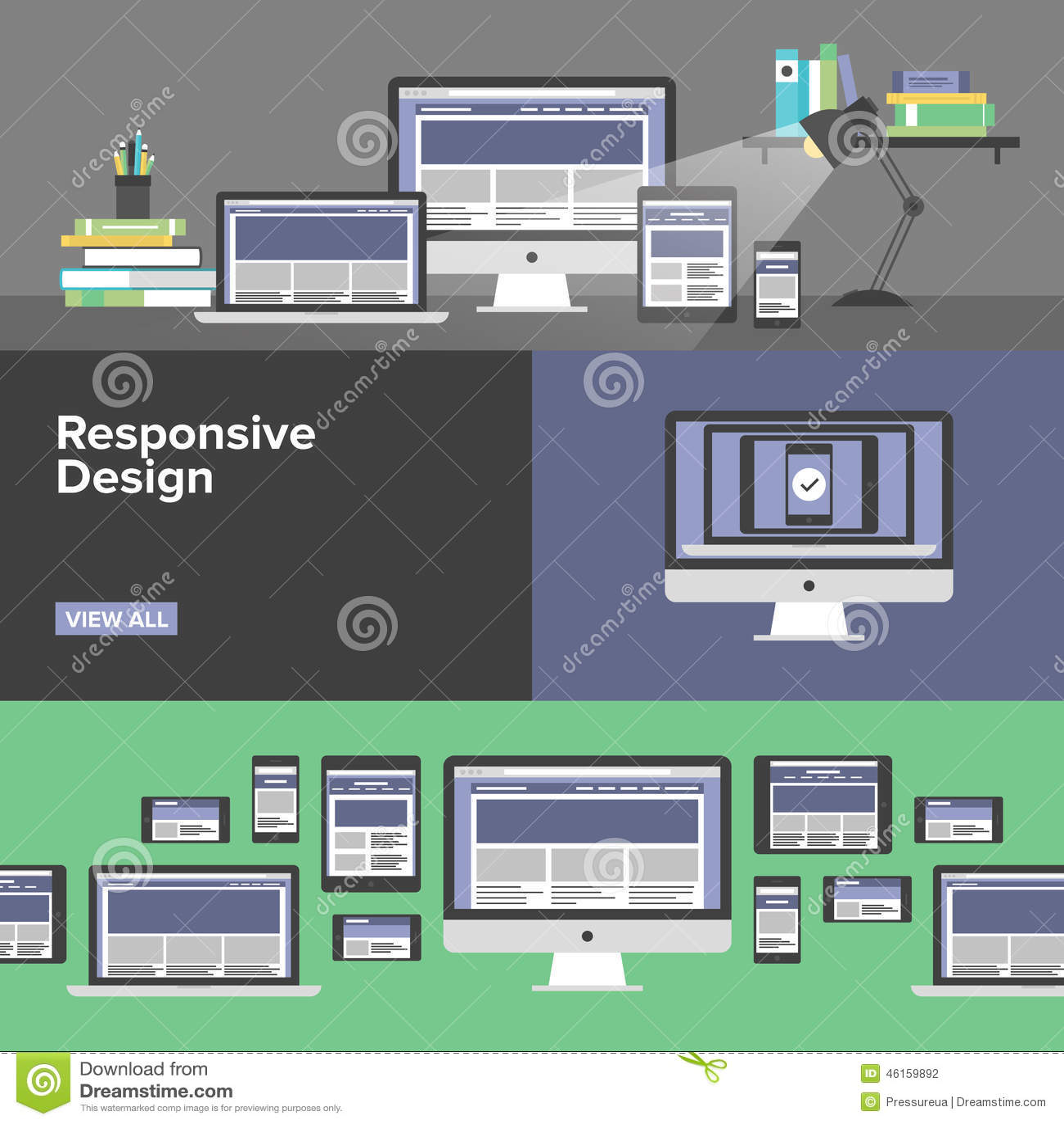 Banderas planas del diseño web responsivo