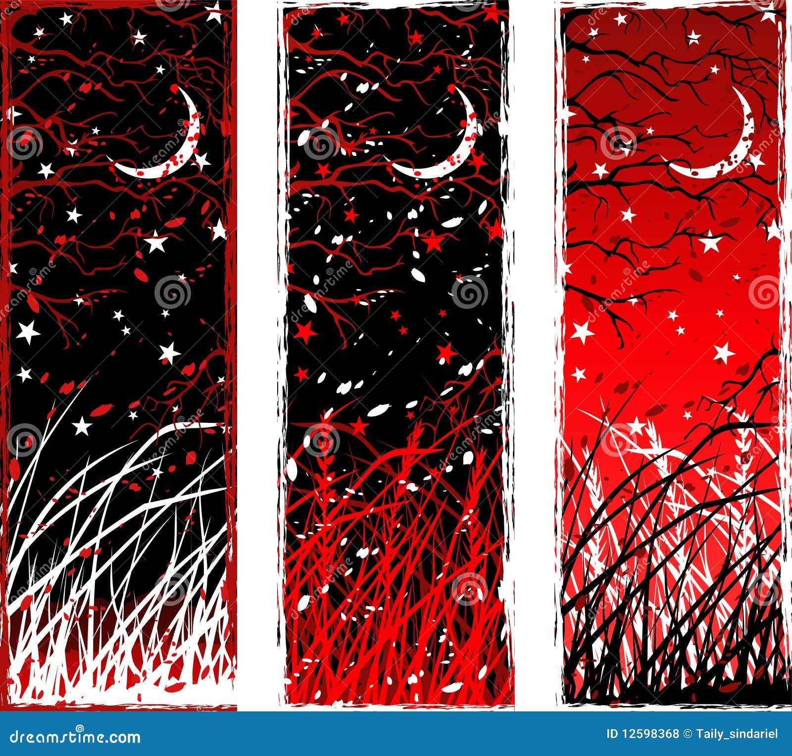 Banderas verticales góticas de la noche del alto contraste