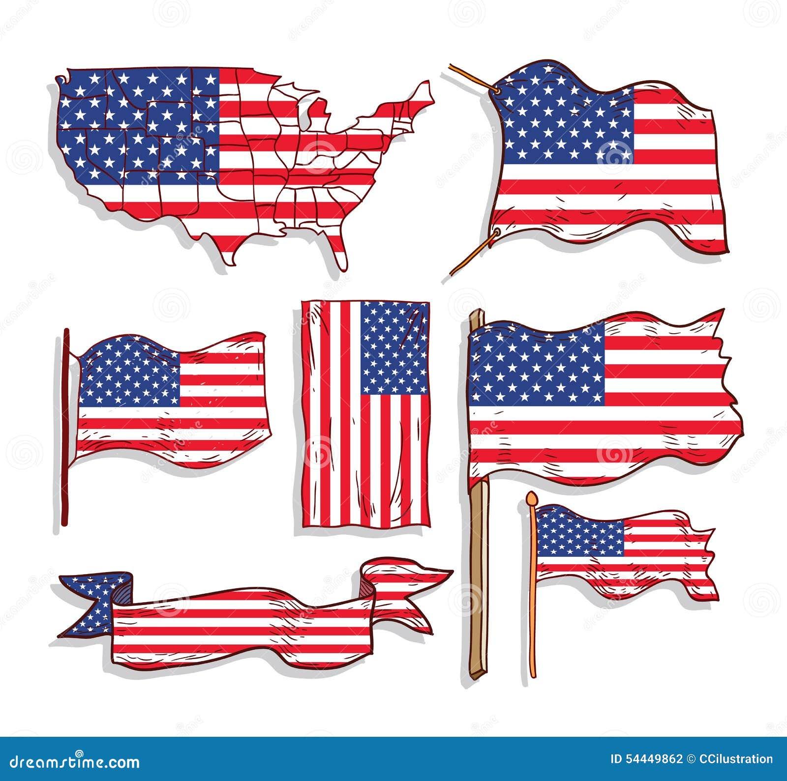 Asombroso La Bandera De Estados Unidos Para Colorear Viñeta ...