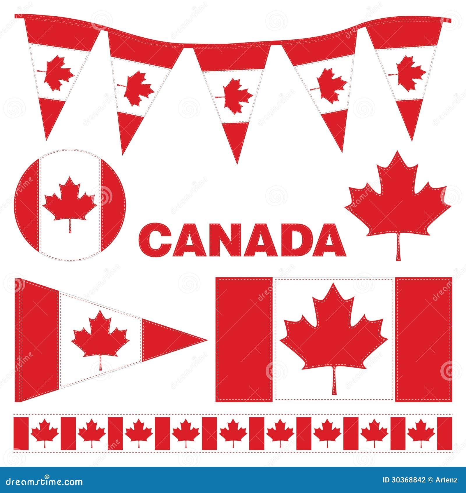 Banderines Y Banderas De Canadá Ilustración del Vector ...