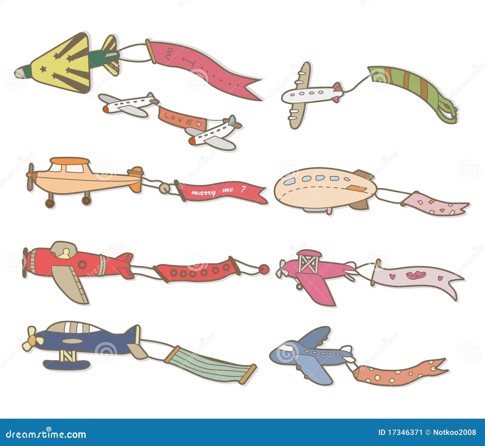Banderole publicitaire d 39 avion de dessin anim image stock - Avion en dessin ...