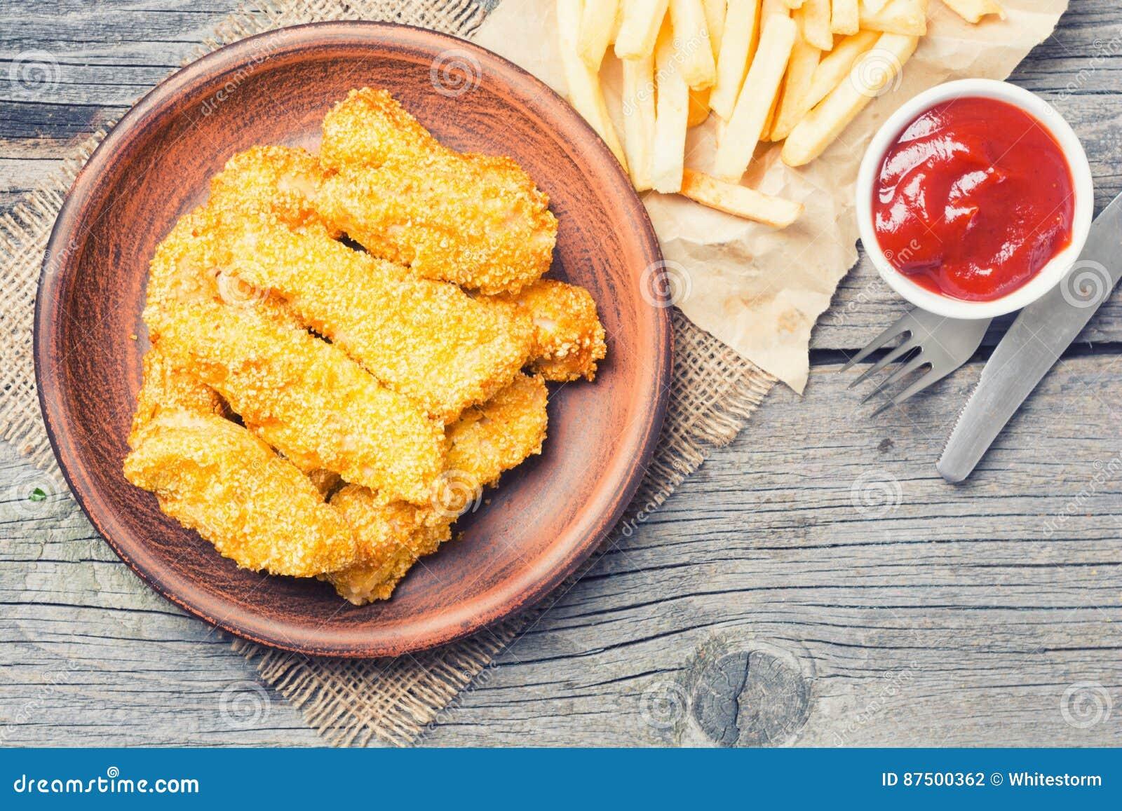 Bandes de poulet frit
