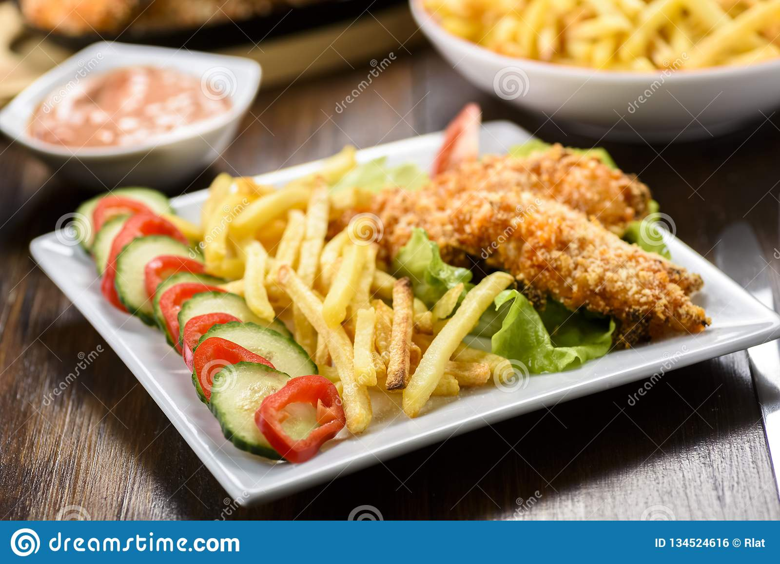 Bandes et fritures de poulet