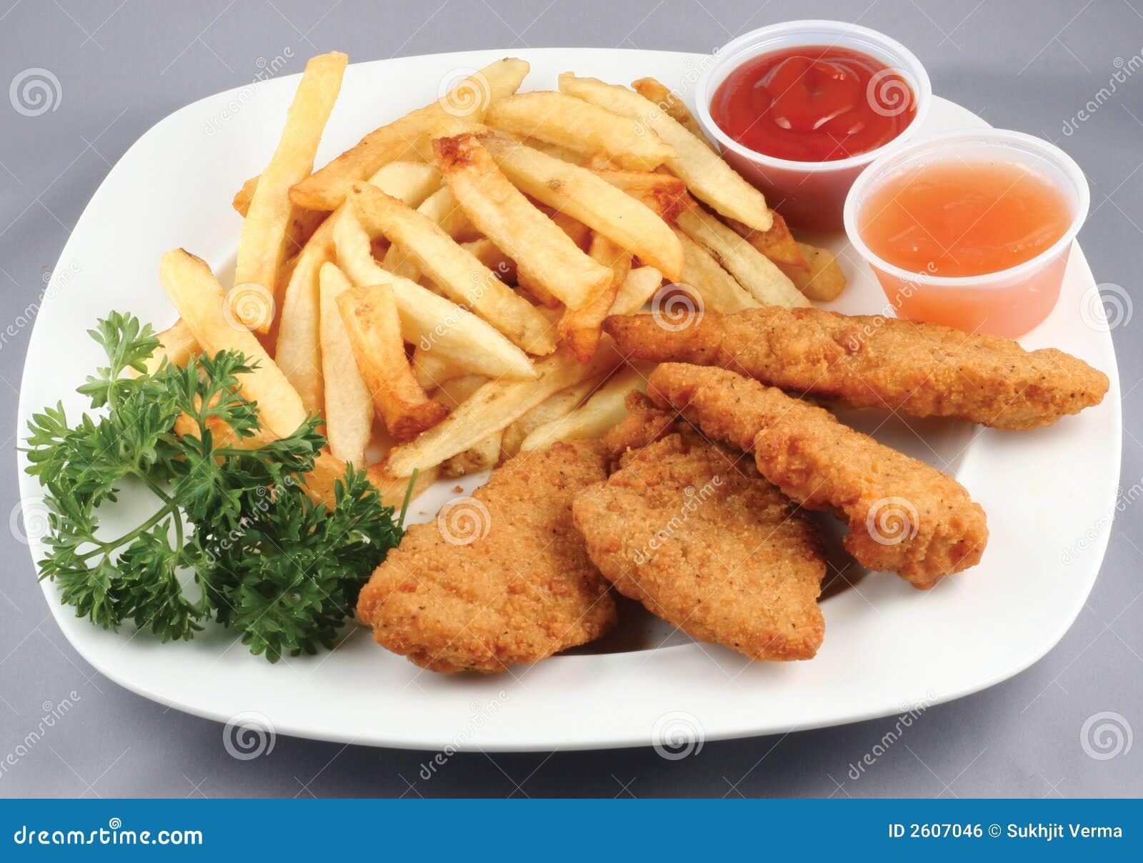 Bandes et fritures de poulet combinées
