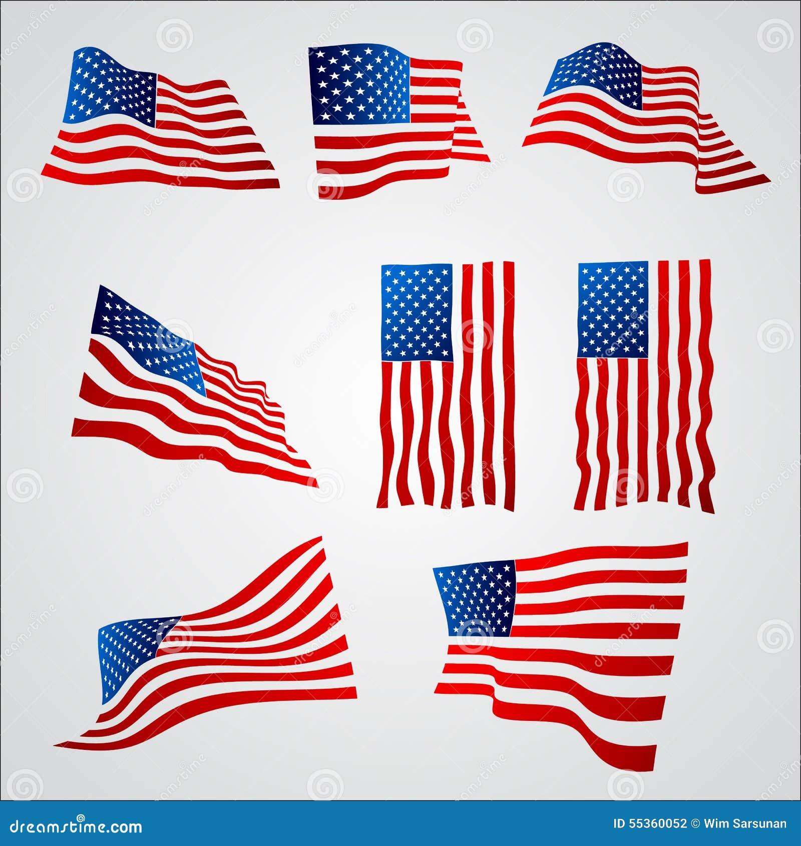 Bandiera americana con la pendenza su fondo bianco
