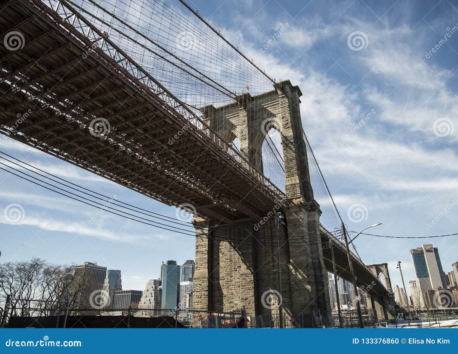 Bandiera americana nell esposizione sul ponte di Brooklyn