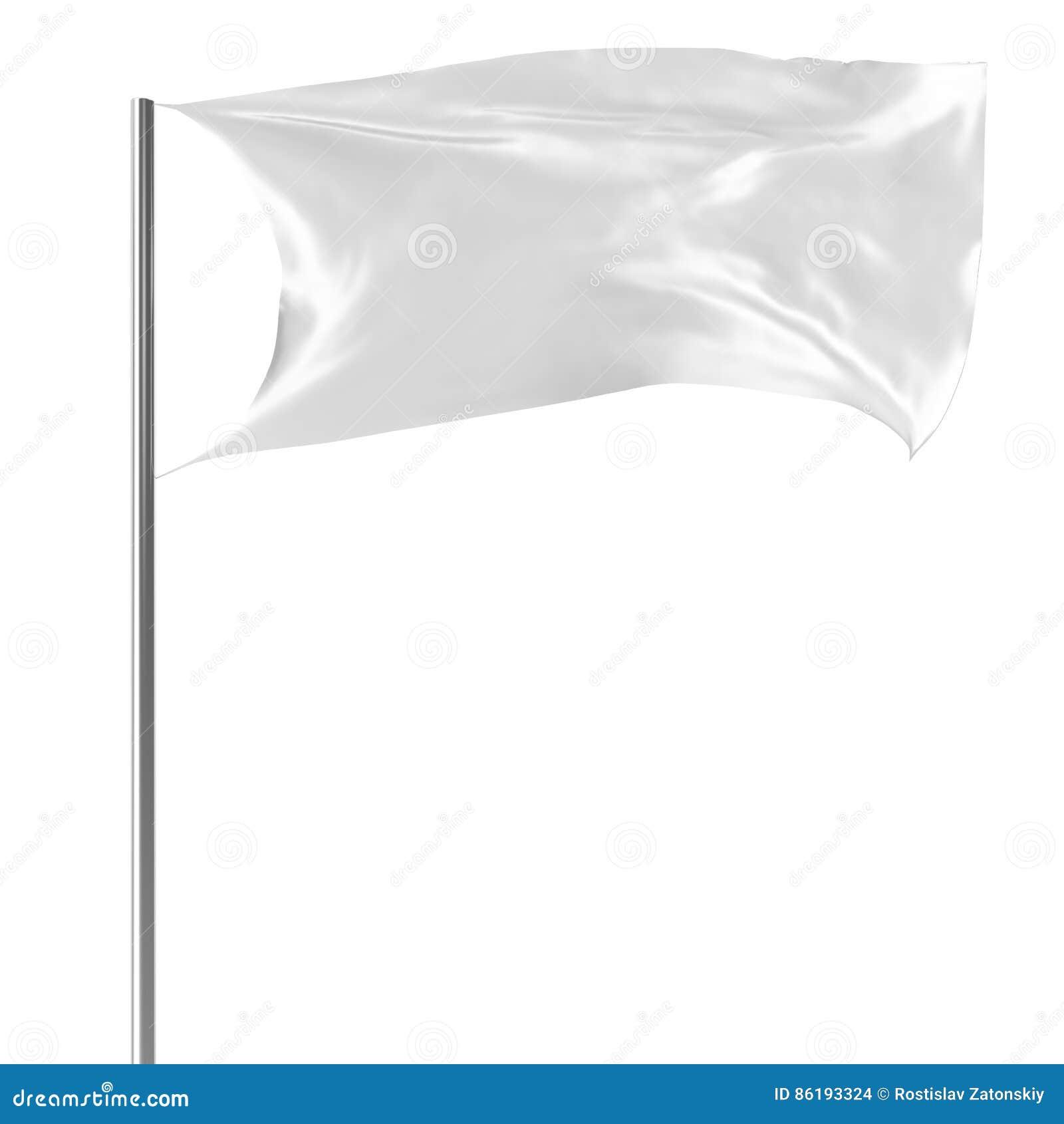 Bandiera bianca sul volo dell asta della bandiera nel modello vuoto del vento, bandiera isolata su fondo bianco Modello in bianco