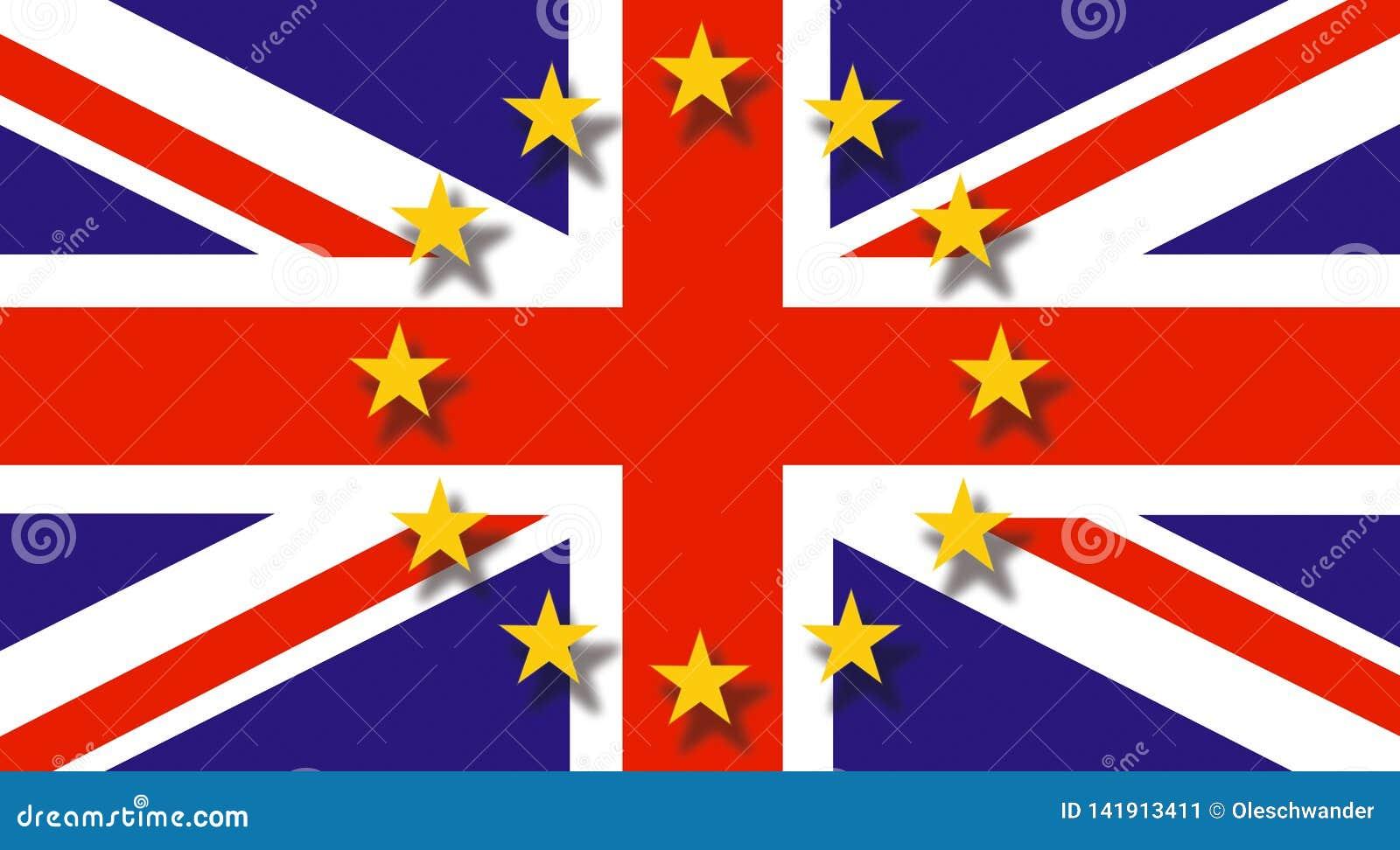 Bandiera britannica che volano a mezz asta e bandiera in cima - concetto di Brexit - economia dell Inghilterra e di Regno Unito d