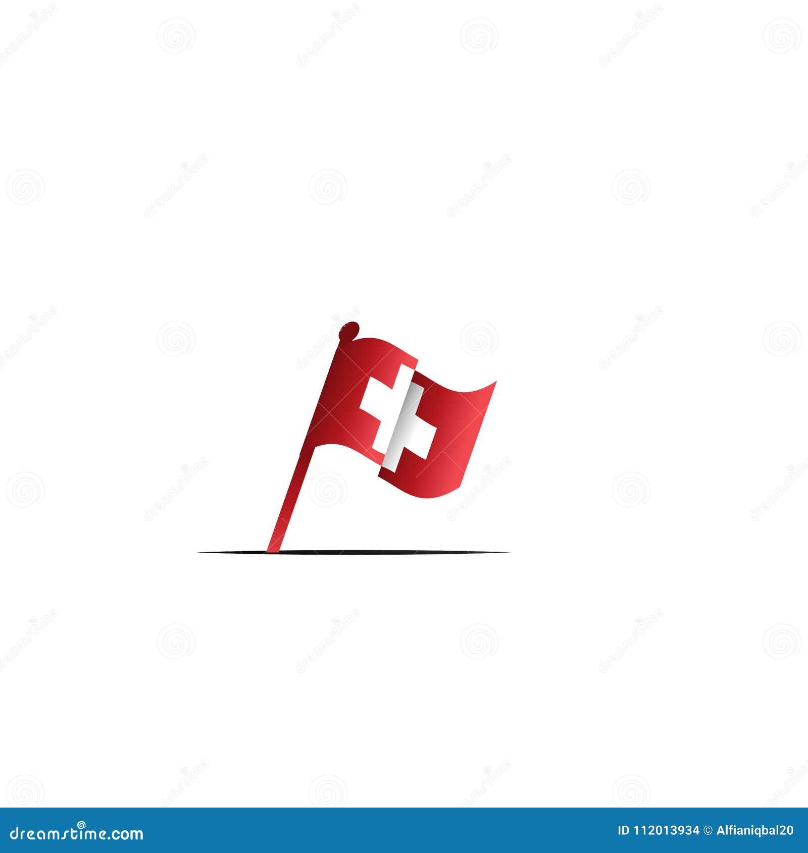 Bandiera Dondeggiamento Dello Svizzero Con Lincrocio Bianco Fondo
