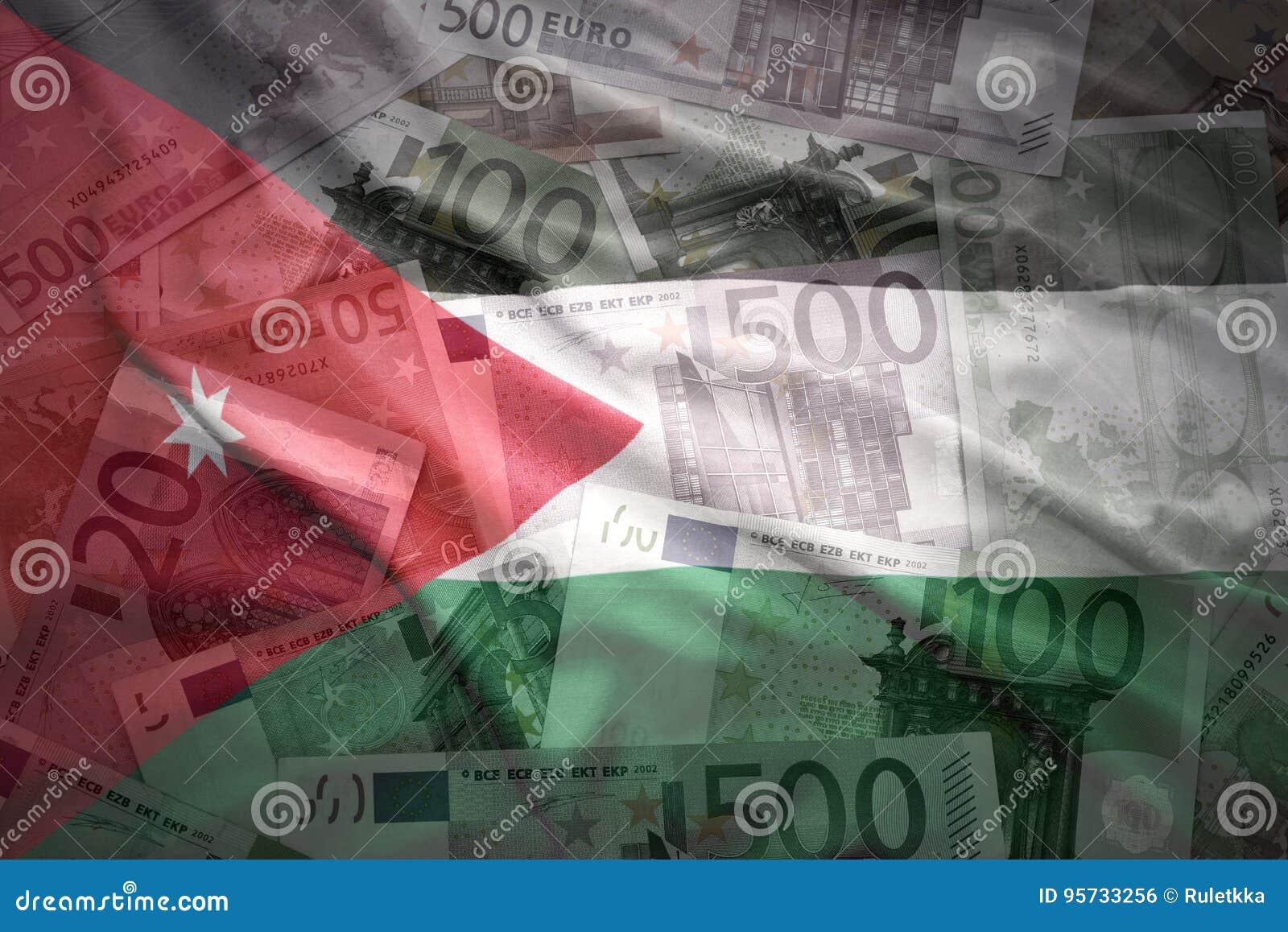 Bandiera d ondeggiamento variopinta del Giordano su un euro fondo