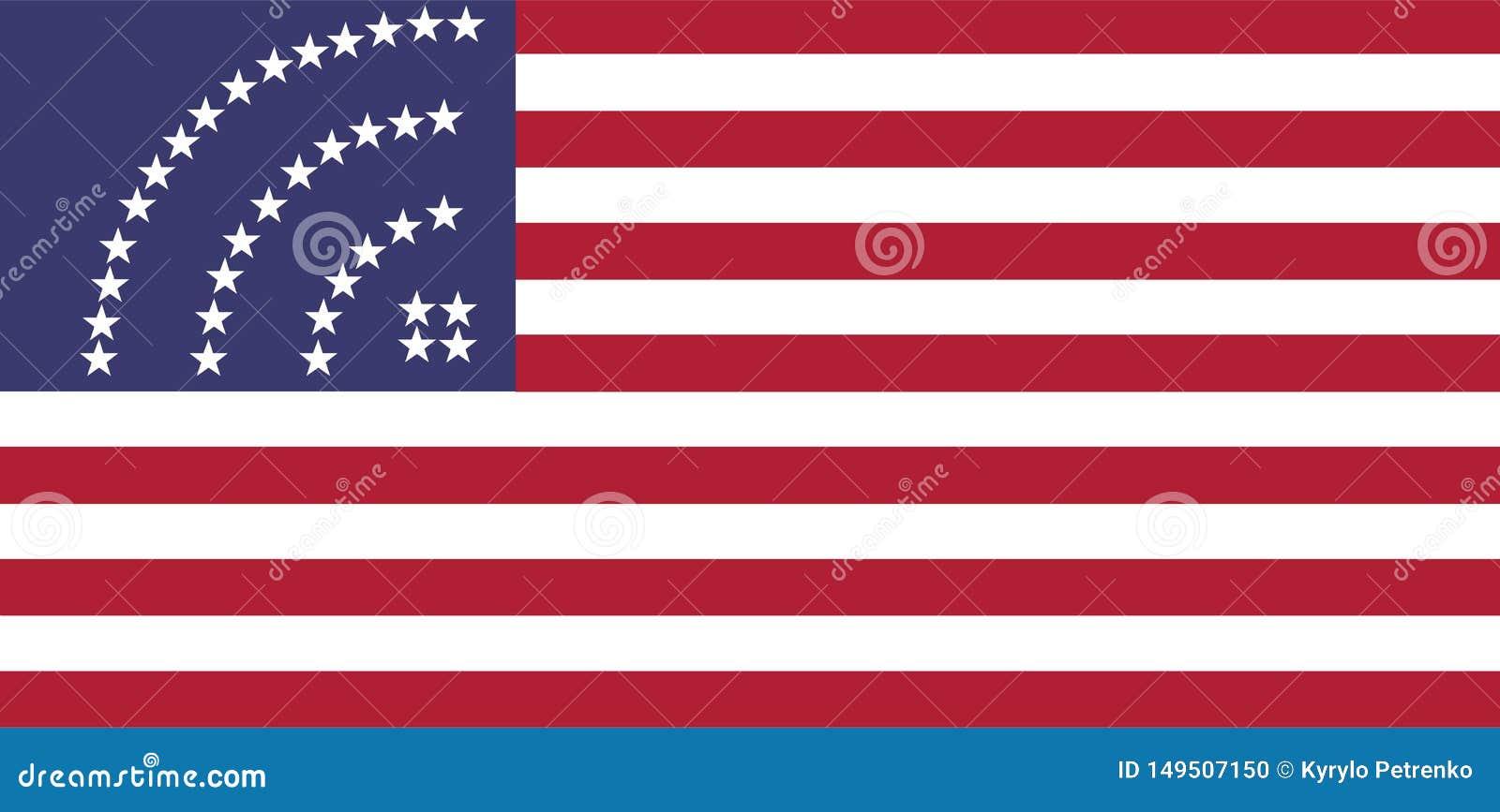 Bandiera degli S.U.A. con le stelle del segno dell icona di wifi