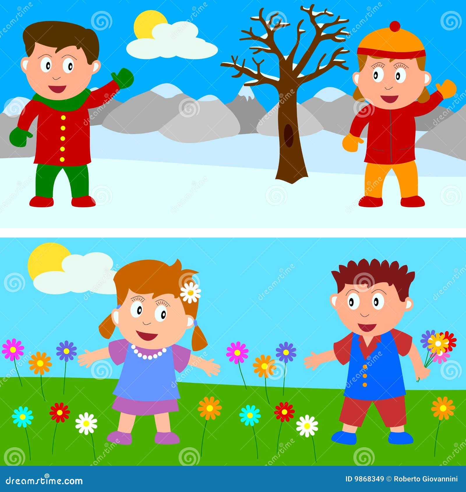 Bandiera dei bambini della primavera di inverno immagini - Animali in inverno clipart ...