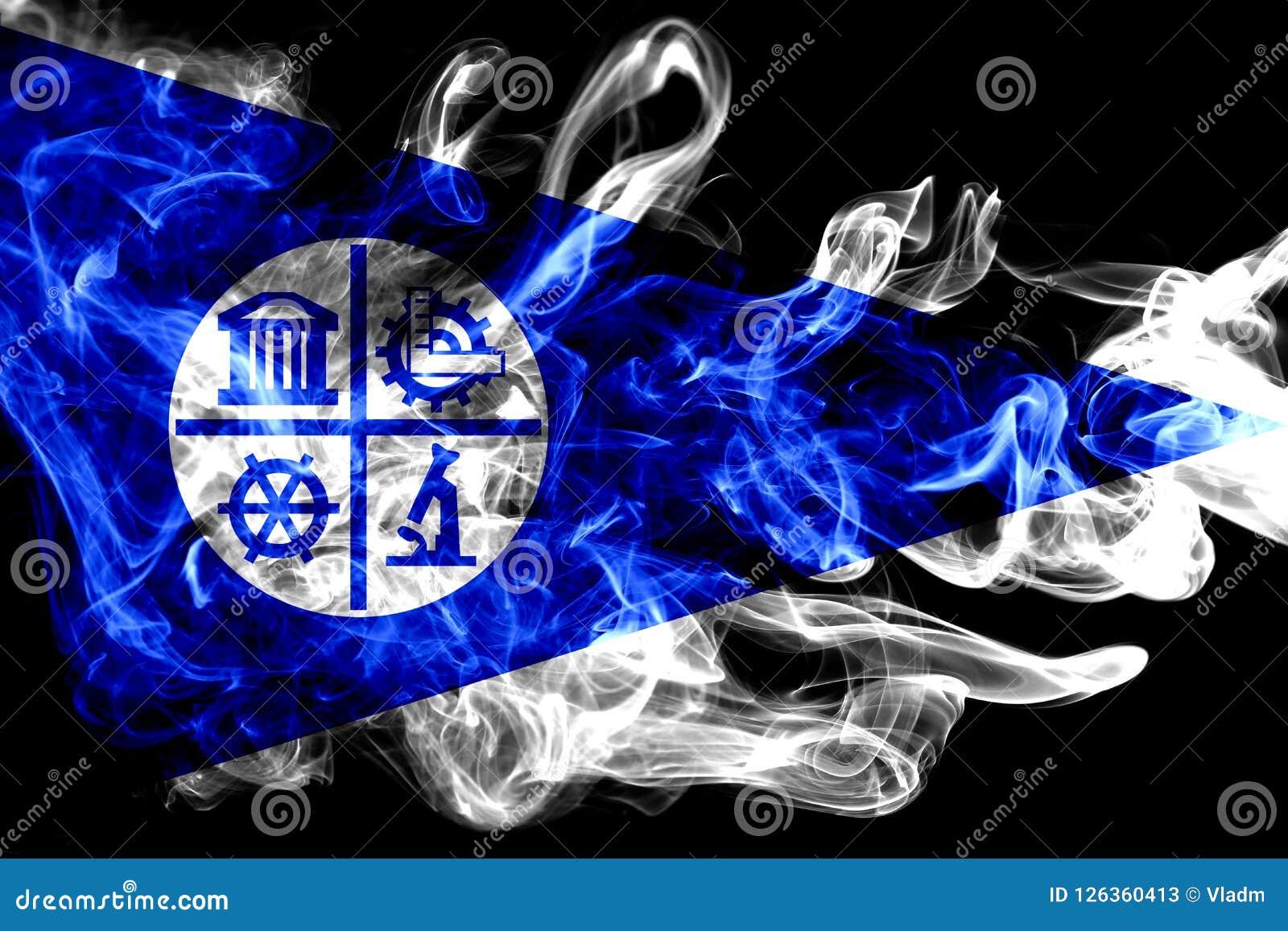 Bandiera del fumo della città di Minneapolis, stato del Minnesota, Stati Uniti di A
