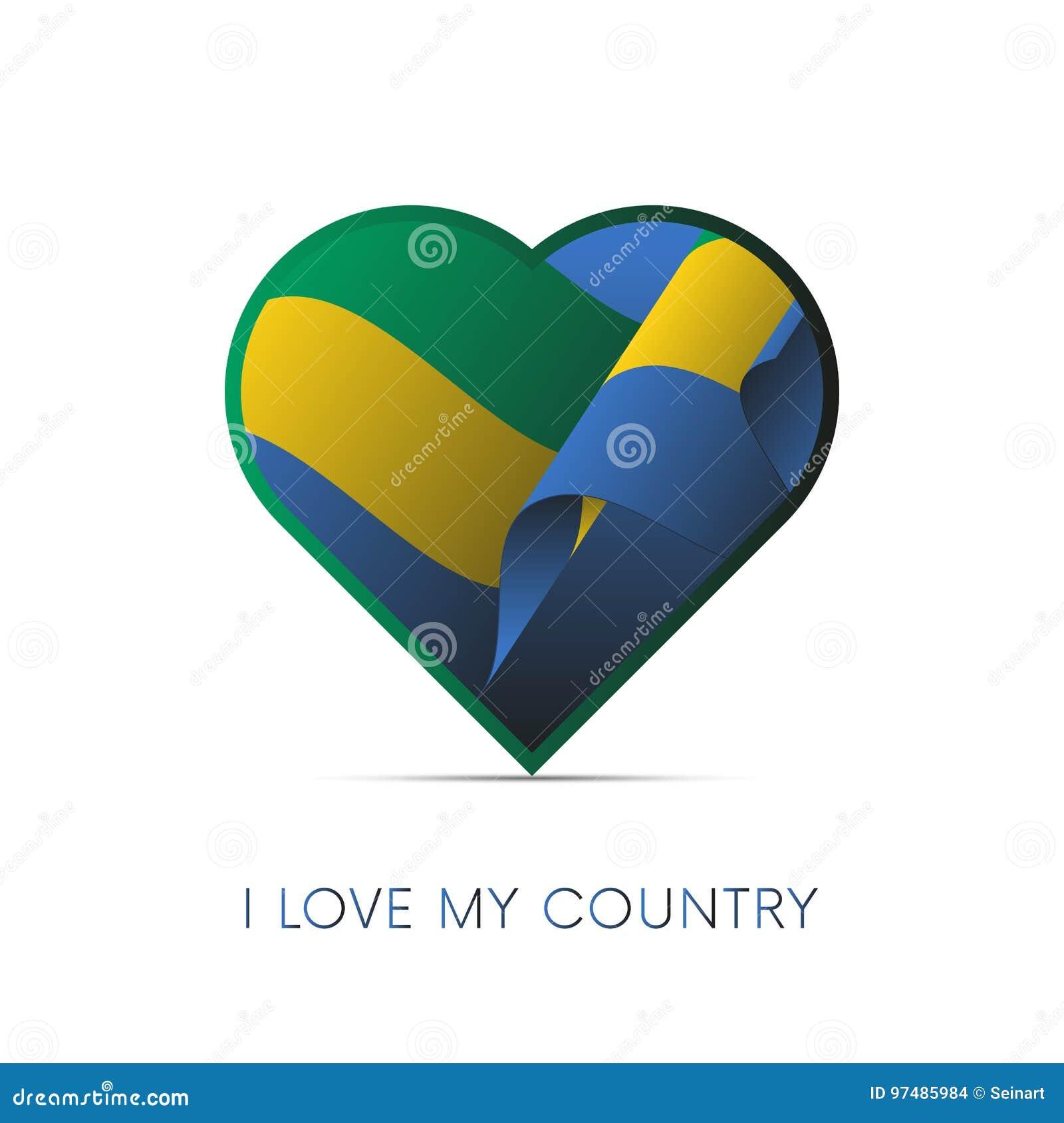 Bandiera del Gabon nel cuore Amo il mio paese segno Vettore