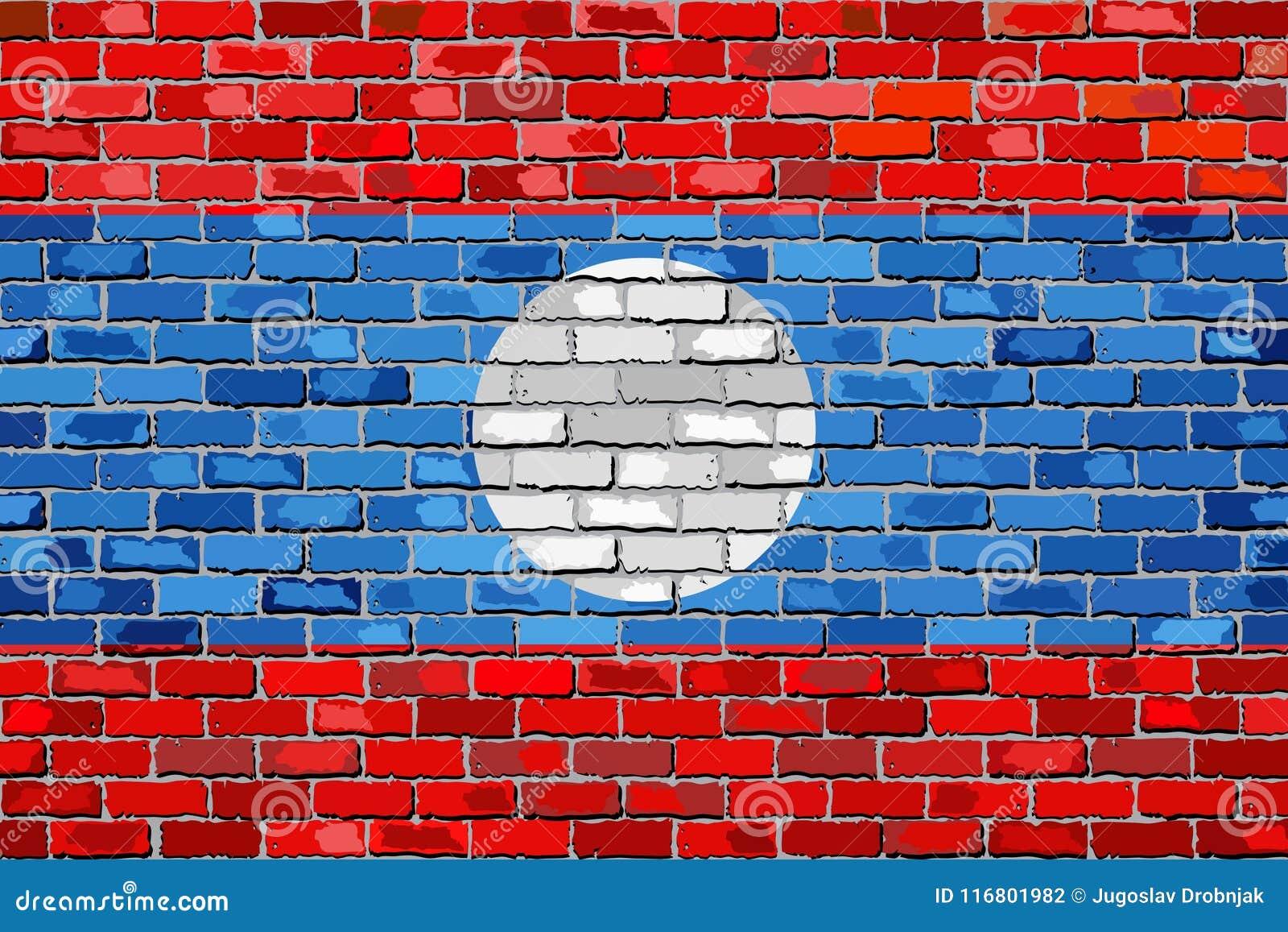 Bandiera del Laos su un muro di mattoni