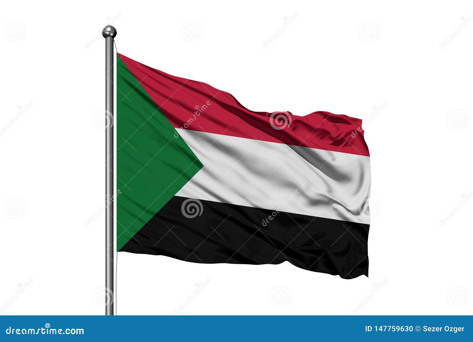 Bandiera del Sudan che ondeggia nel vento, fondo bianco isolato Bandiera sudanese