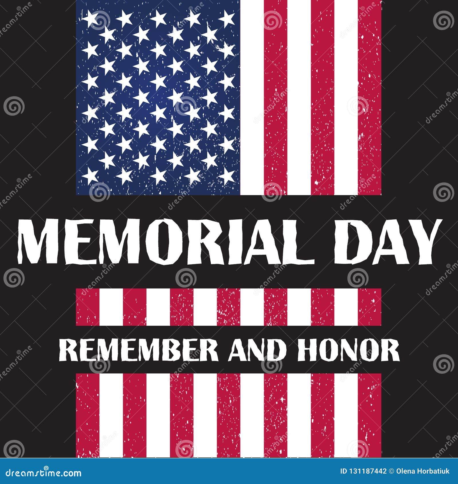 Bandiera dell America all illustrazione di vettore di Giorno dei Caduti