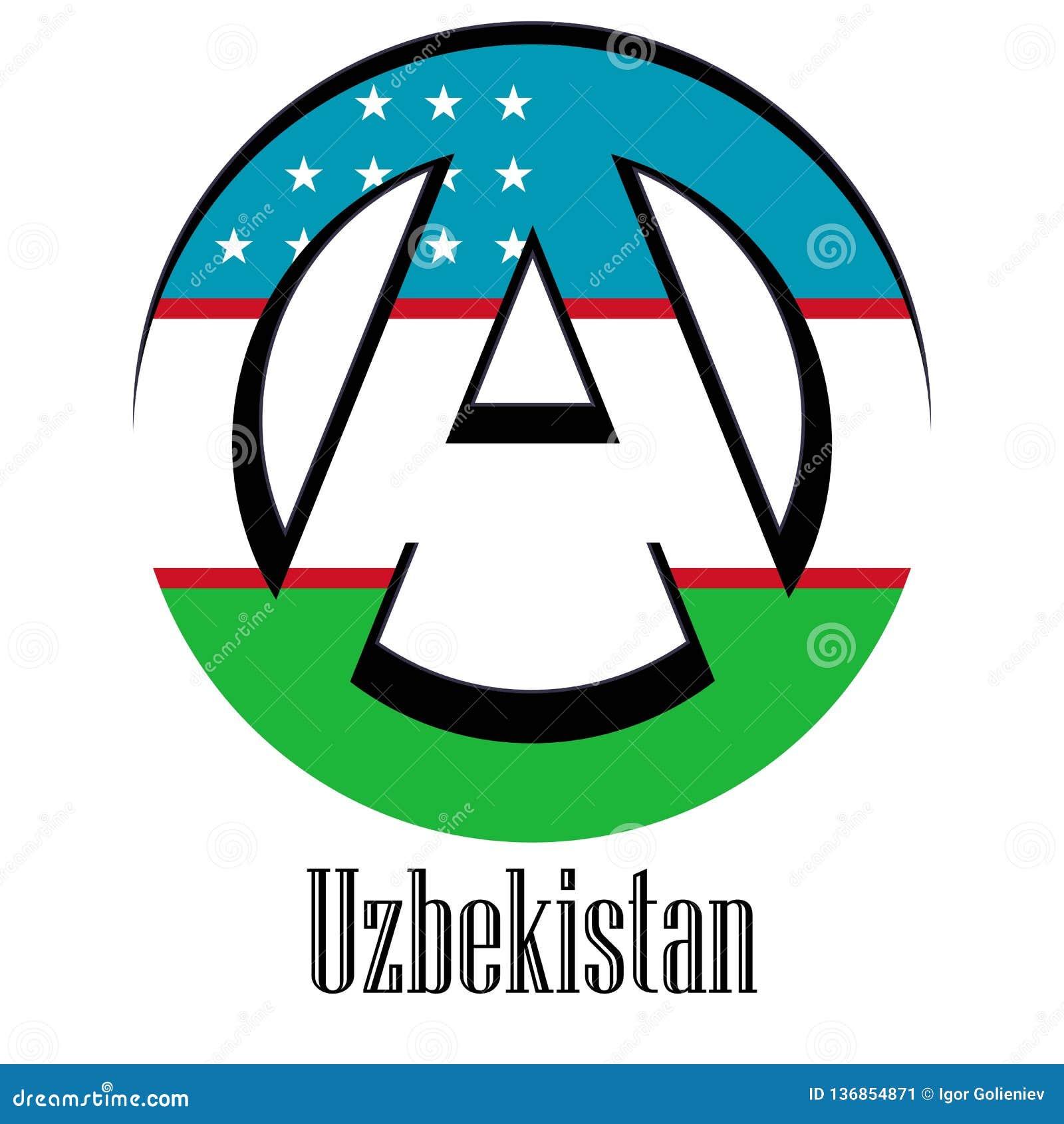Bandiera dell Uzbekistan del mondo sotto forma di segno dell anarchia