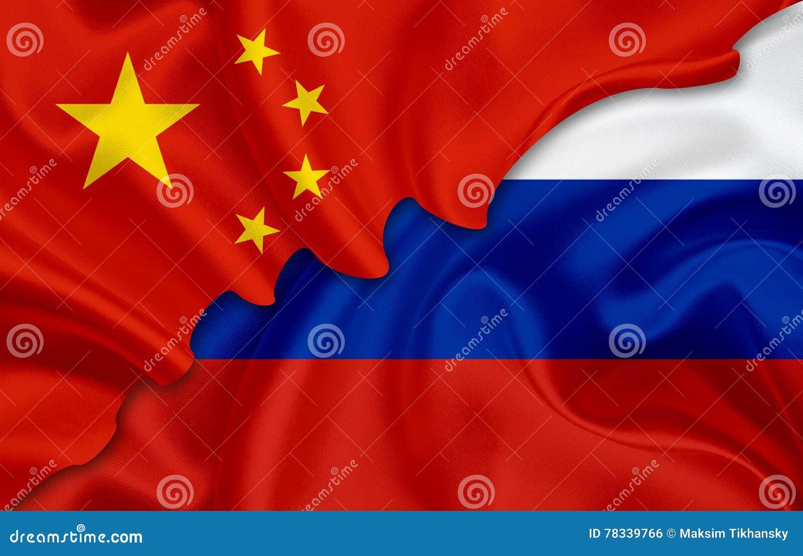 Bandiera della Cina e bandiera della Russia