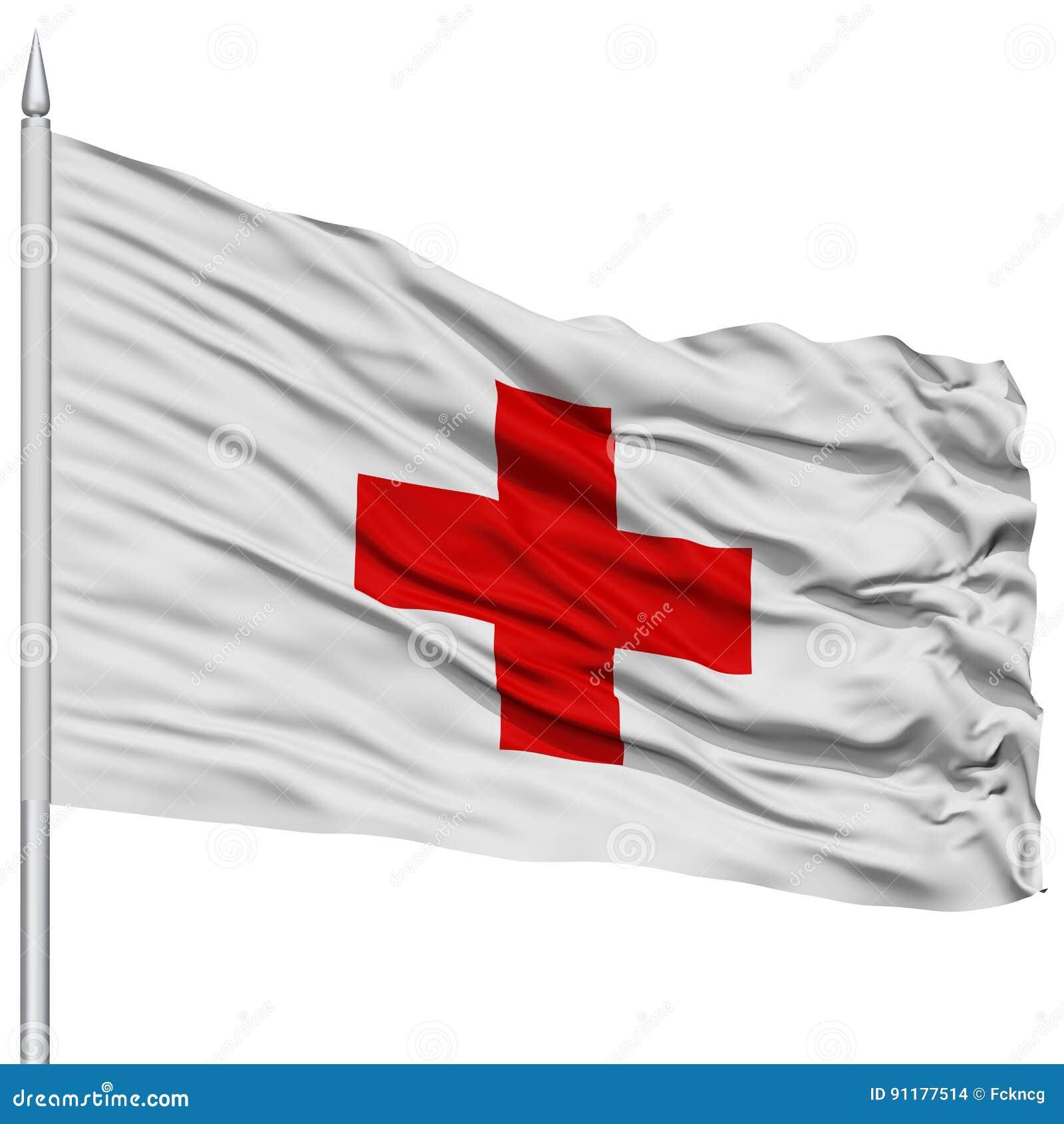Bandiera Della Croce Rossa Sullasta Della Bandiera Illustrazione Di