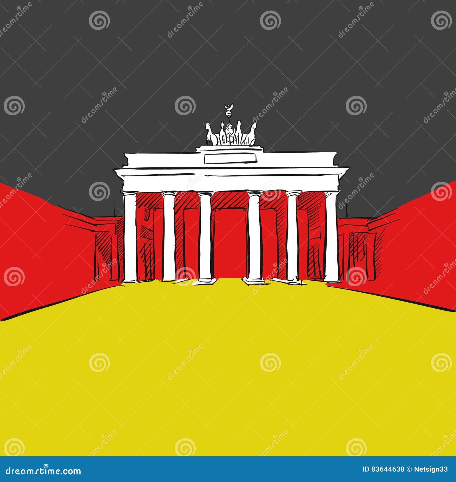 Bandiera della germania con la porta di brandeburgo - Bandiera della pagina di colorazione della germania ...