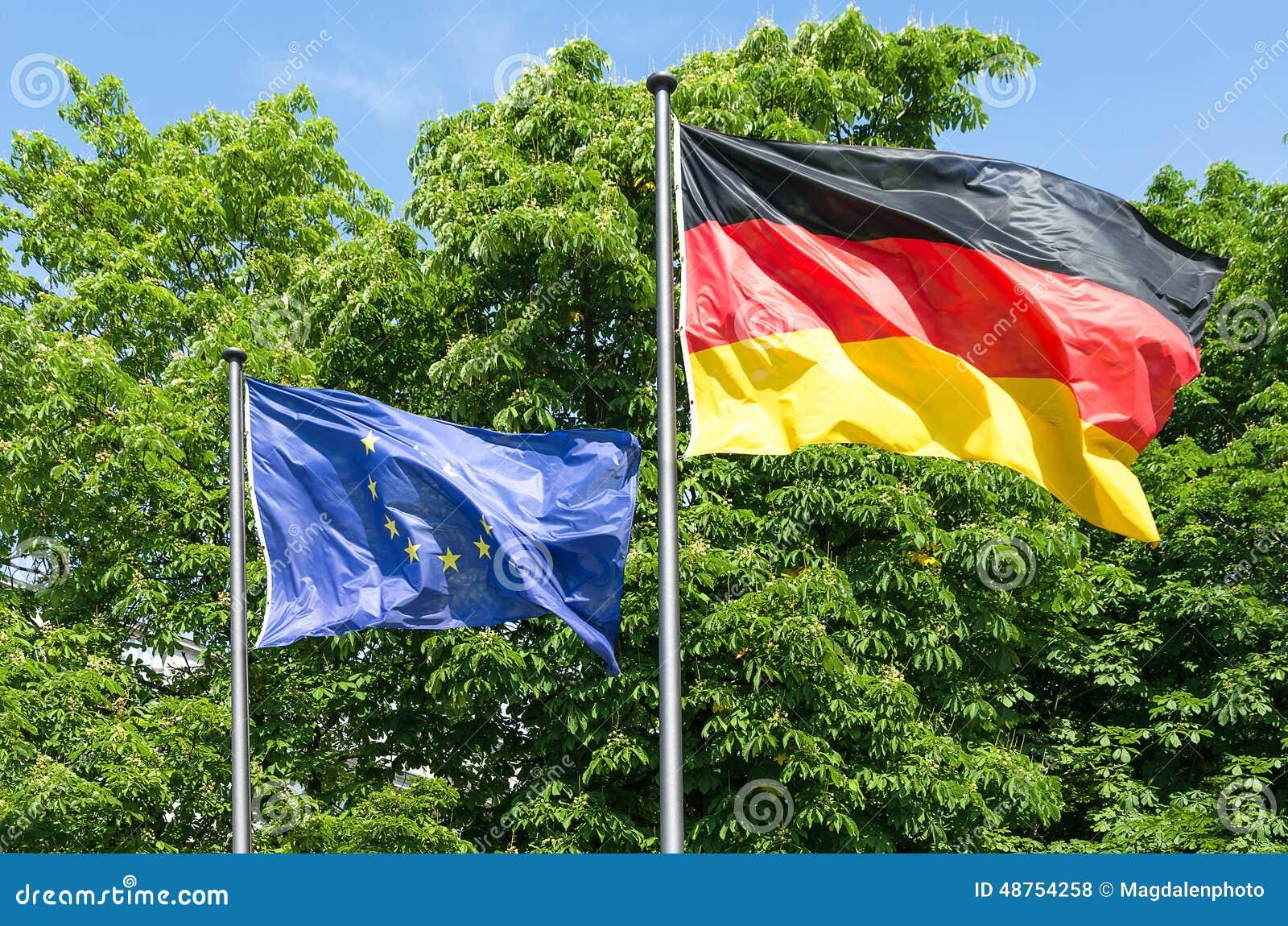 Bandiera della germania e di europa che ondeggiano al - Bandiera della pagina di colorazione della germania ...