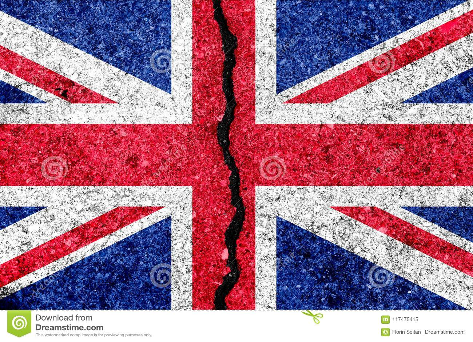 Bandiera della Gran Bretagna, conosciuta come Union Jack, dipinto sulla parete incrinata
