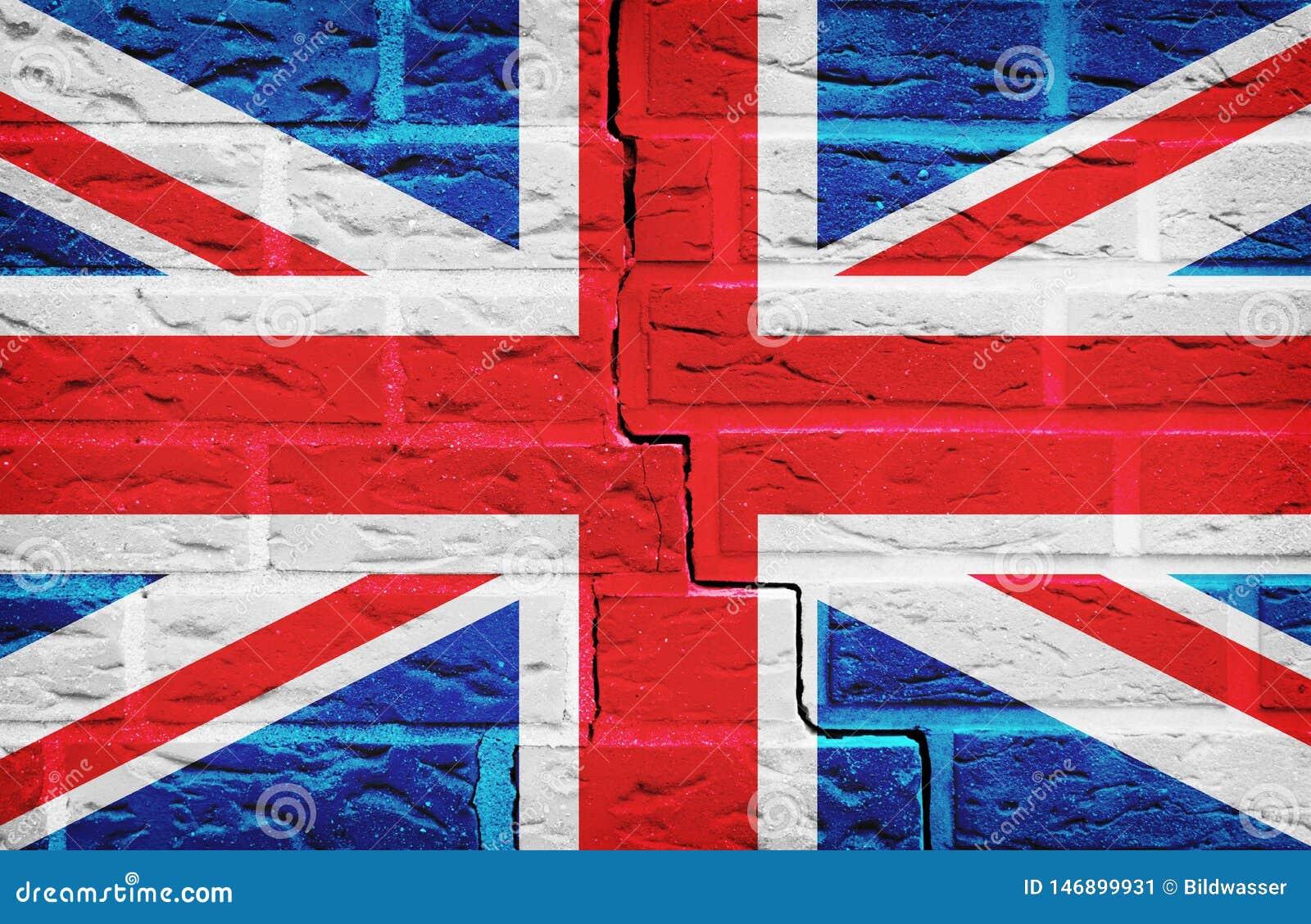 Bandiera della Gran Bretagna dipinta sul fondo di struttura del muro di mattoni