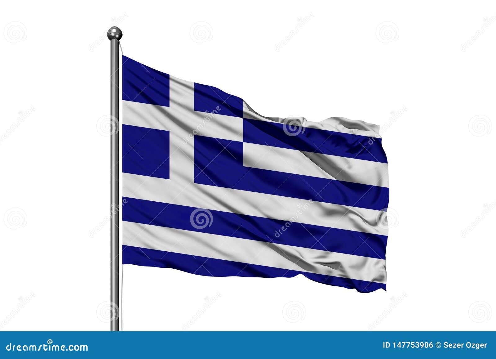 Bandiera della Grecia che ondeggia nel vento, fondo bianco isolato Bandierina greca