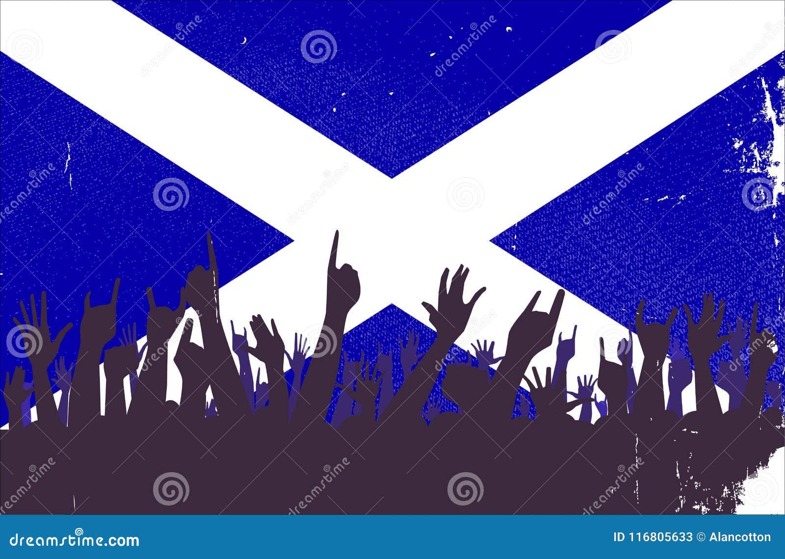 Bandiera della Scozia con reazione del pubblico