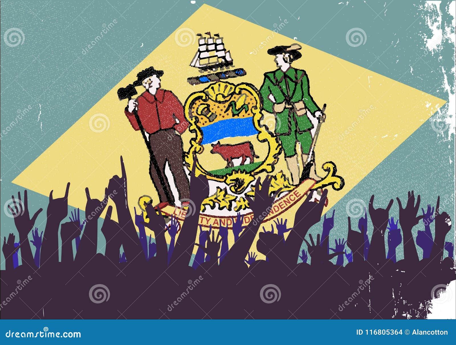 Bandiera dello stato del Delaware con reazione del pubblico