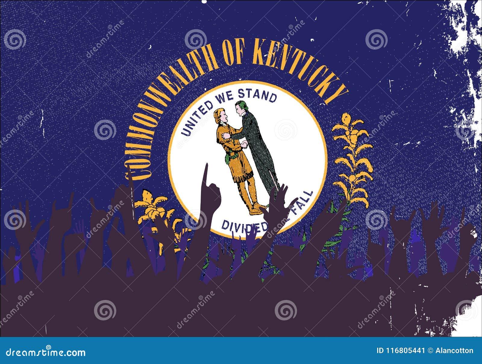 Bandiera dello stato del Kentucky con reazione del pubblico