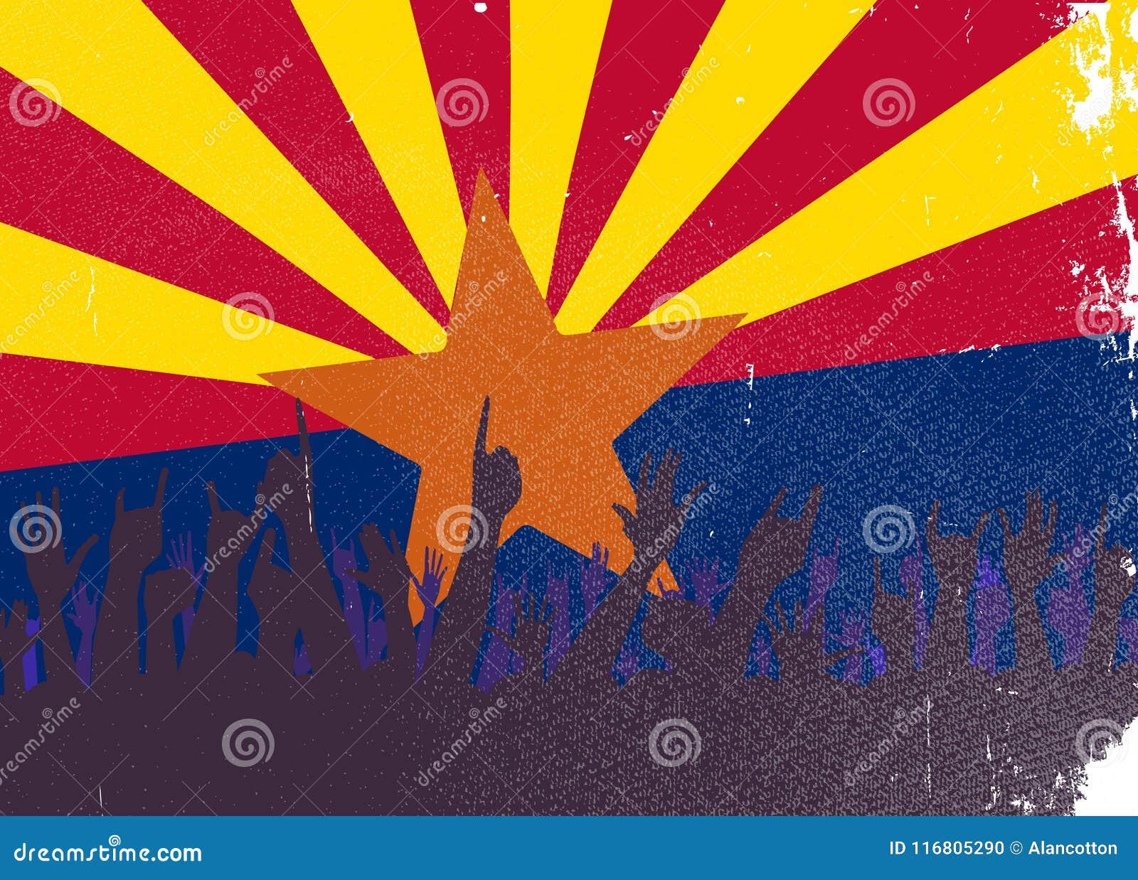 Bandiera dello stato dell Arizona con reazione del pubblico