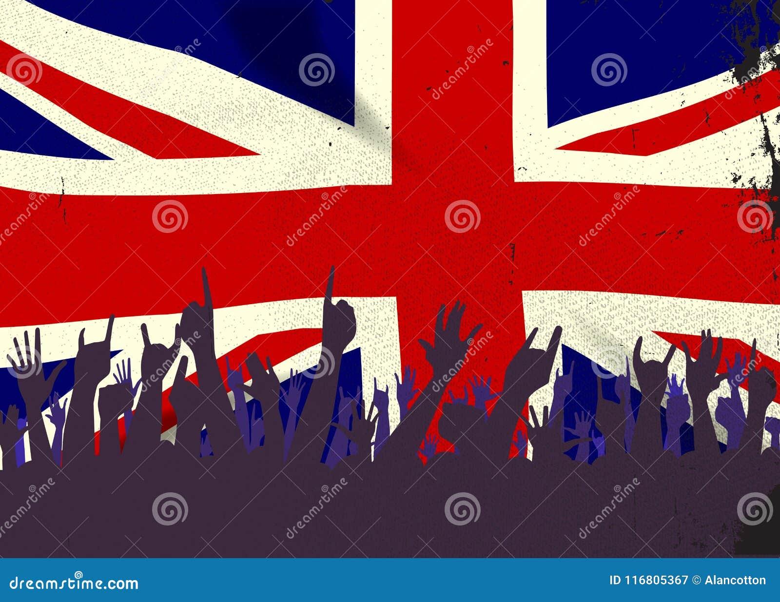 Bandiera dello stato dell Inghilterra con reazione del pubblico
