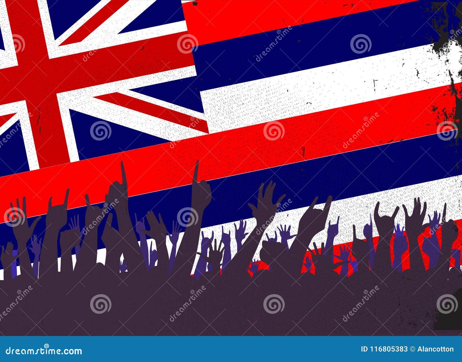 Bandiera dello stato delle Hawai con reazione del pubblico