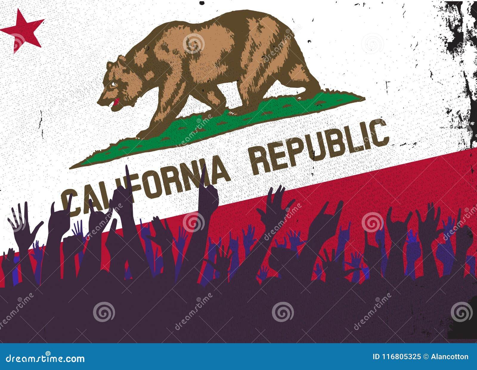 Bandiera dello stato di California con reazione del pubblico
