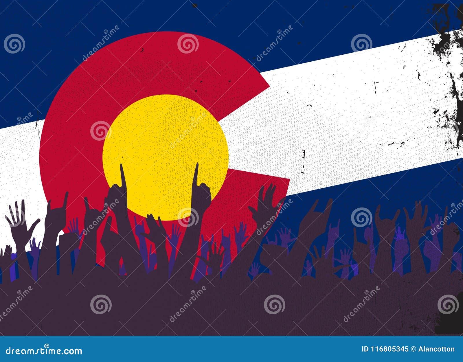 Bandiera dello stato di Colorado con reazione del pubblico
